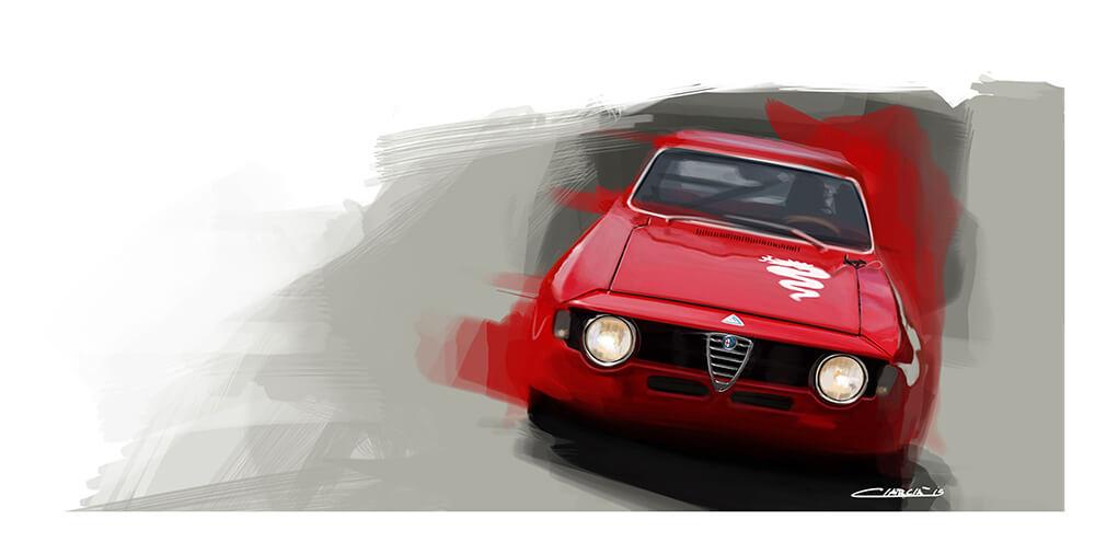 Alfa Romeo GT Junior car art