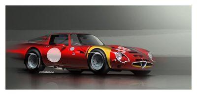 Alfa Romeo Giulia TZ2 car art