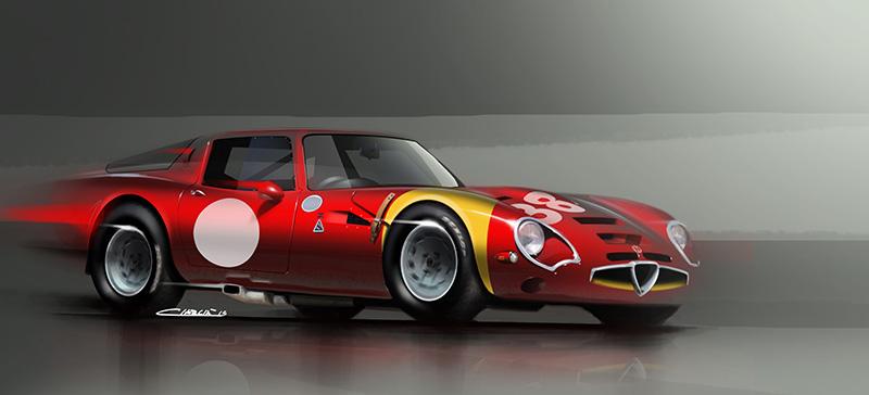 alfa romeo giulia tz2 art print | simply petrol fine car art gallery