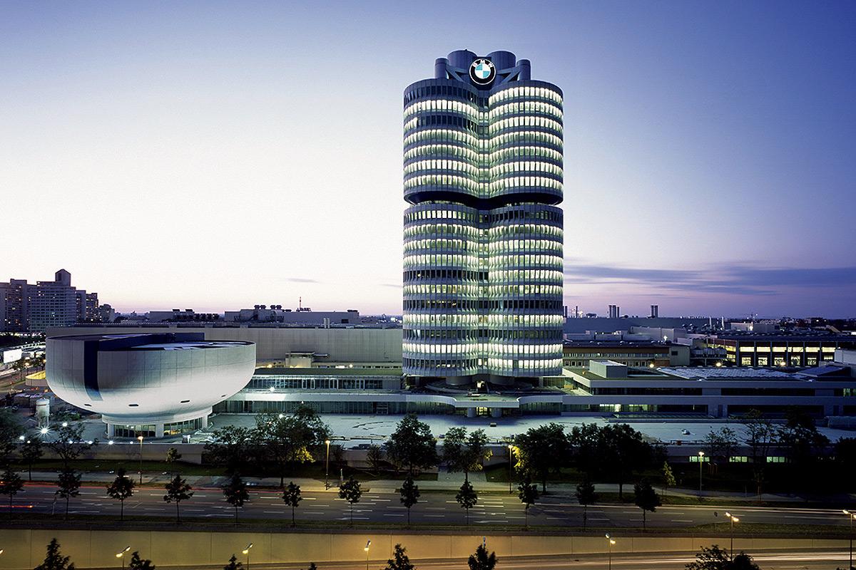 BMW HQ at night