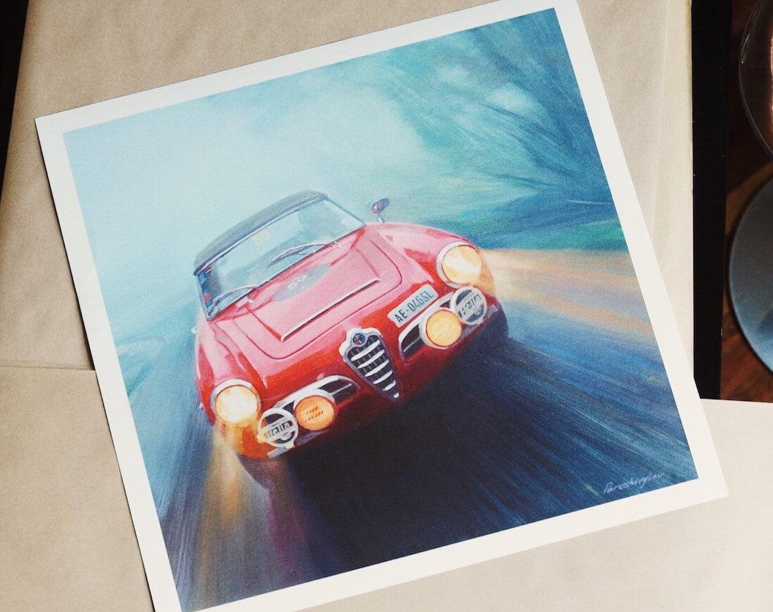 Alfa Romeo Giulietta Spider Art Print 1961 Heck Giulia
