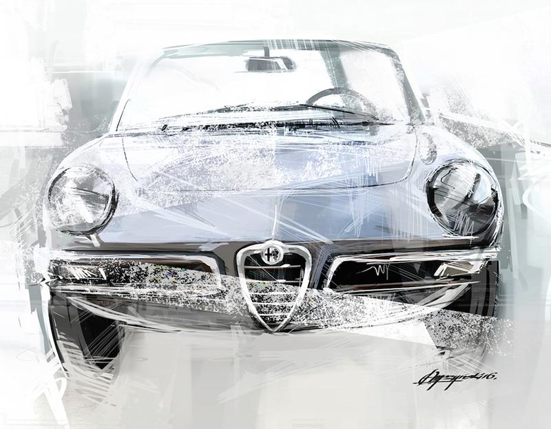 Alfa Romeo Duetto Spider Art Print Simply Petrol - Alfa romeo poster