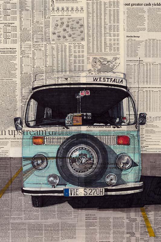 vw camper van poster westfalia