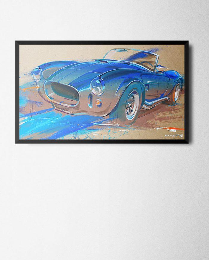 Shelby Cobra poster art framed