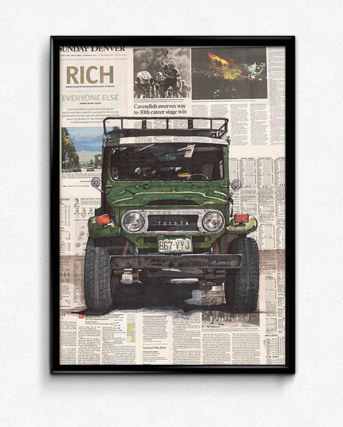 Poster Toyota FJ40 framed