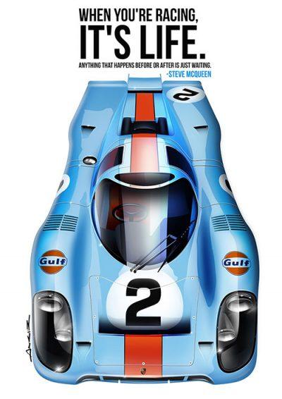 Porsche 917 Steve McQueen poster art