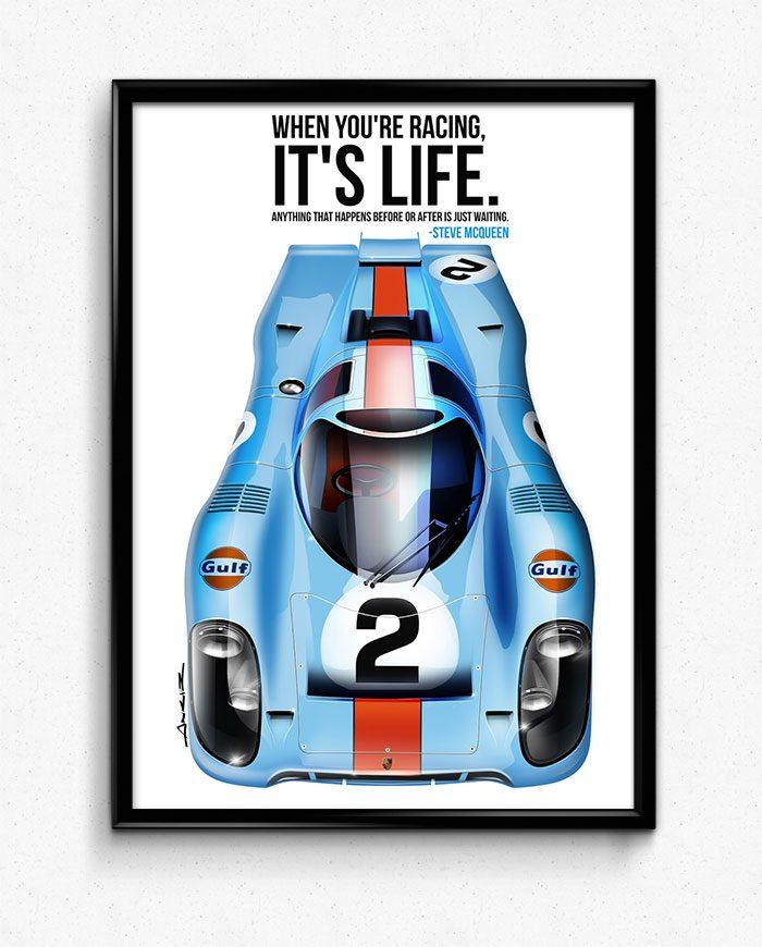 Steve McQueen Porsche 917 art
