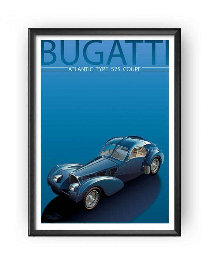 Bugatti 57S Atlantic poster art