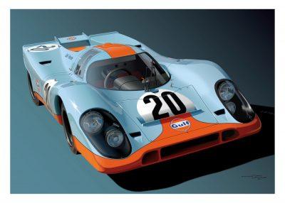 Porsche 917 Gulf poster art