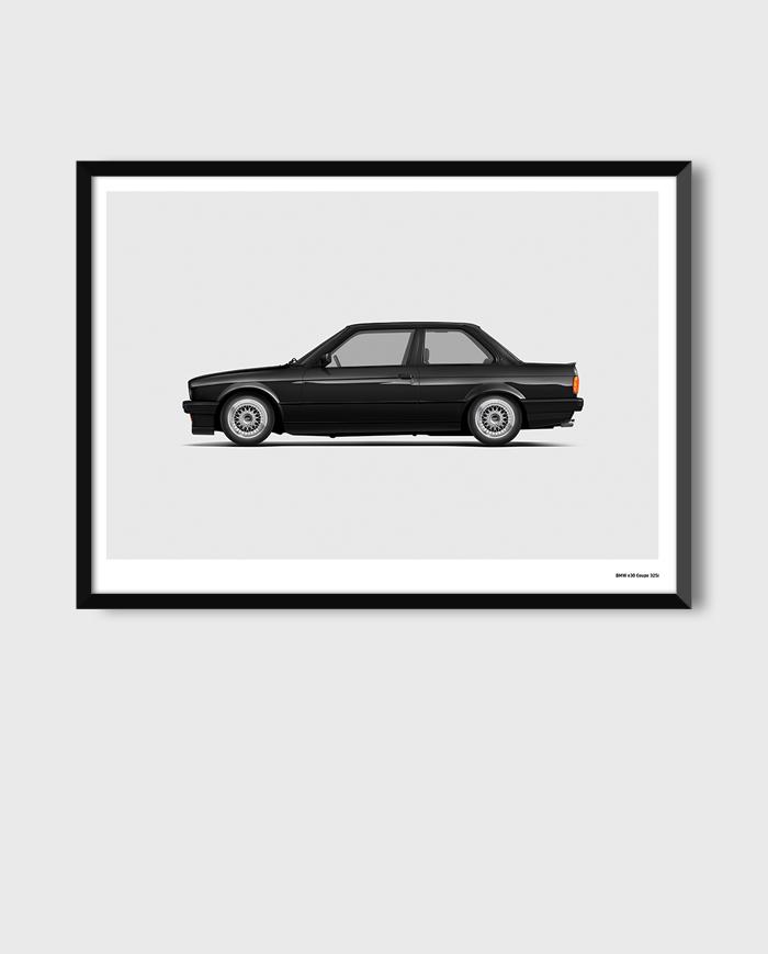 BMW E30 art poster