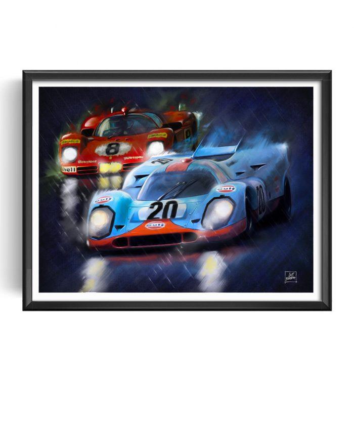 Le Mans Movie art Porsche 917 Ferrari 512