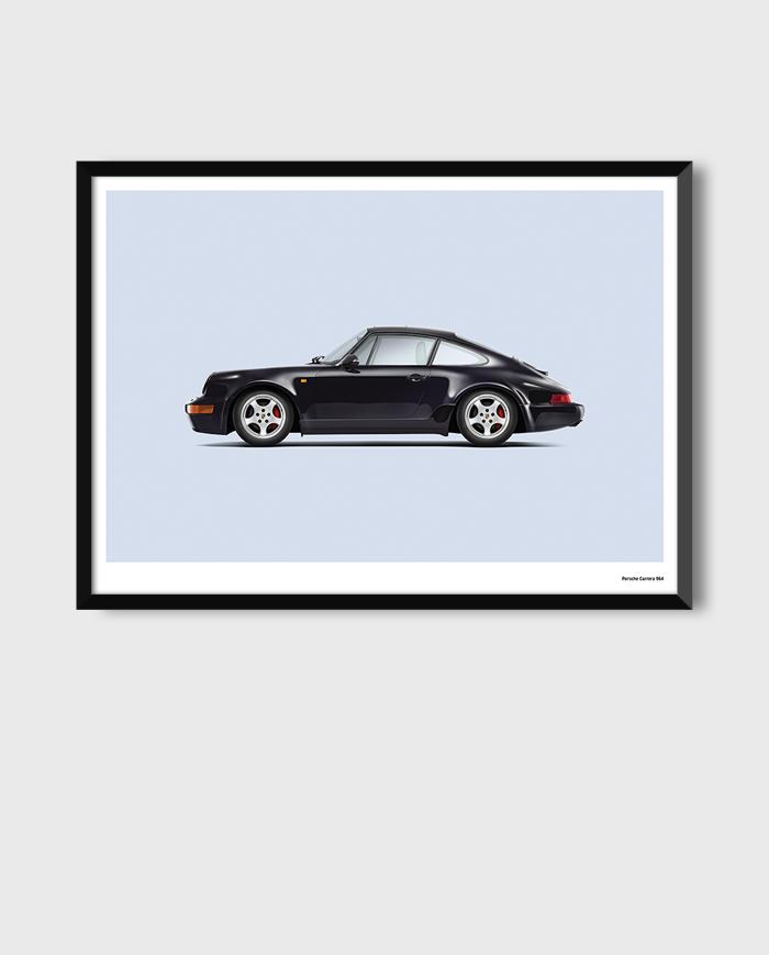 Porsche 964 art poster print framed