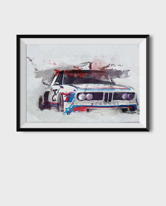 BMW 3.0 CSL poster art print