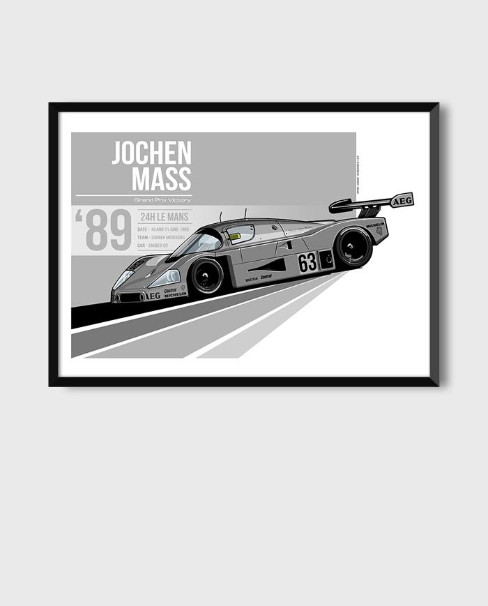 Sauber-Mercedes C9 art poster framed