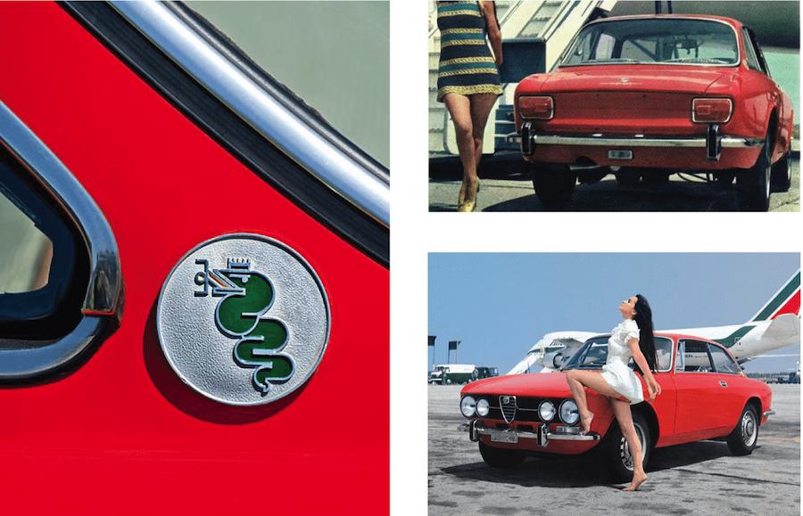 Car-art_simplypetrol_poster_alfa-romeo_2000-GTV_giulia_plane_alitalia_alfa logo_vintage women ad