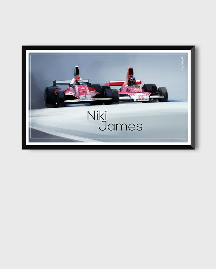 Niki Lauda and James Hunt. The Rivalry art