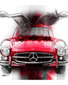 Mercedes-Benz-300SL-Gullwing-art