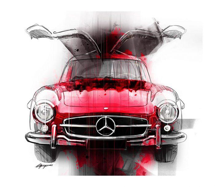 Mercedes 300 SL Gullwing art