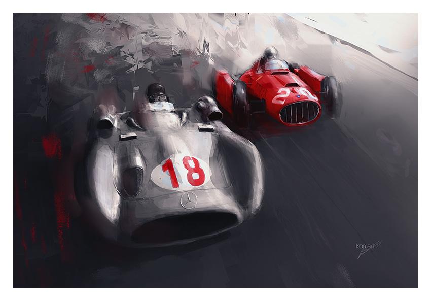 Mercedes W196 and Lancia-Ferrari D50 art
